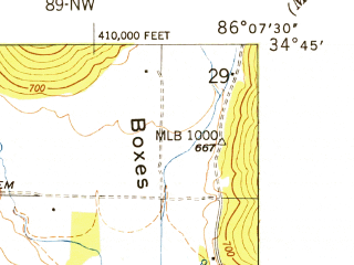 Reduced fragment of topographic map en--usgs--024k--025691--(1950)--N034-45-00_W086-15-00--N034-37-30_W086-07-30