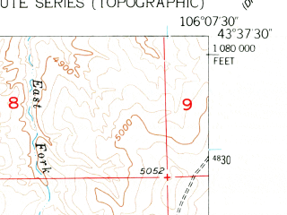 Reduced fragment of topographic map en--usgs--024k--025733--(1954)--N043-37-30_W106-15-00--N043-30-00_W106-07-30