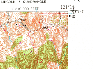 Reduced fragment of topographic map en--usgs--024k--025736--(1953)--N039-00-00_W121-22-30--N038-52-30_W121-15-00; towns and cities Lincoln