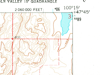Reduced fragment of topographic map en--usgs--024k--025763--(1960)--N047-45-00_W100-22-30--N047-37-30_W100-15-00