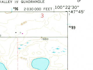 Reduced fragment of topographic map en--usgs--024k--025764--(1960)--N047-45-00_W100-30-00--N047-37-30_W100-22-30