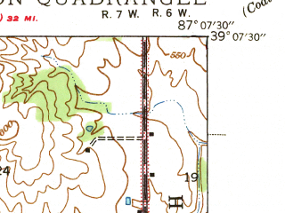Reduced fragment of topographic map en--usgs--024k--025848--(1940)--N039-07-30_W087-15-00--N039-00-00_W087-07-30; towns and cities Linton