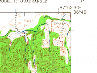 Reduced fragment of topographic map en--usgs--024k--025849--(1957)--N036-45-00_W088-00-00--N036-37-30_W087-52-30
