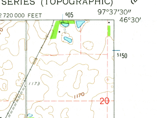 Reduced fragment of topographic map en--usgs--024k--025871--(1962)--N046-30-00_W097-45-00--N046-22-30_W097-37-30; towns and cities Lisbon