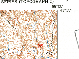Reduced fragment of topographic map en--usgs--024k--025896--(1951)--N041-15-00_W099-07-30--N041-07-30_W099-00-00