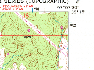 Reduced fragment of topographic map en--usgs--024k--025910--(1958)--N035-15-00_W097-15-00--N035-07-30_W097-07-30; towns and cities Etowah