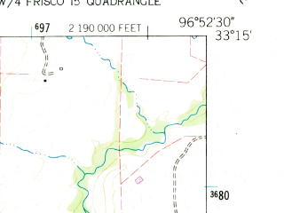 Reduced fragment of topographic map en--usgs--024k--025958--(1960)--N033-15-00_W097-00-00--N033-07-30_W096-52-30; towns and cities Cross Roads, Hackberry, Lakewood Village