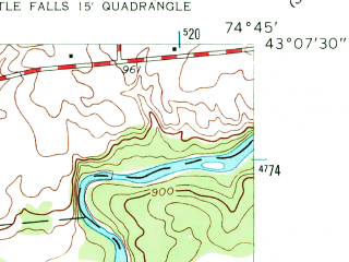 Reduced fragment of topographic map en--usgs--024k--025960--(1943)--N043-07-30_W074-52-30--N043-00-00_W074-45-00; towns and cities Little Falls, Dolgeville