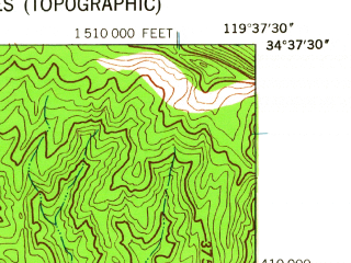 Reduced fragment of topographic map en--usgs--024k--026017--(1942)--N034-37-30_W119-45-00--N034-30-00_W119-37-30 in area of Gibraltar Reservoir