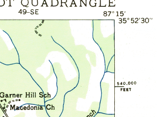 Reduced fragment of topographic map en--usgs--024k--026092--(1936)--N035-52-30_W087-22-30--N035-45-00_W087-15-00