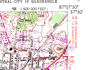 Reduced fragment of topographic map en--usgs--024k--026113--(1952)--N037-30-00_W087-15-00--N037-22-30_W087-07-30; towns and cities Island, Livermore