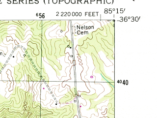 Reduced fragment of topographic map en--usgs--024k--026127--(1955)--N036-30-00_W085-22-30--N036-22-30_W085-15-00; towns and cities Livingston