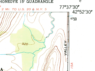 Reduced fragment of topographic map en--usgs--024k--026135--(1951)--N042-52-30_W077-45-00--N042-45-00_W077-37-30; towns and cities Livonia