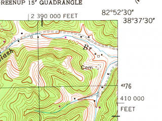 Reduced fragment of topographic map en--usgs--024k--026155--(1953)--N038-37-30_W083-00-00--N038-30-00_W082-52-30
