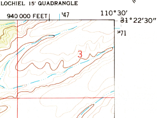 Reduced fragment of topographic map en--usgs--024k--026175--(1958)--N031-22-30_W110-37-30--N031-15-00_W110-30-00