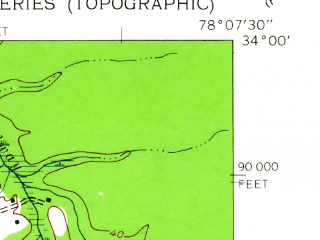 Reduced fragment of topographic map en--usgs--024k--026205--(1943)--N034-00-00_W078-15-00--N033-52-30_W078-07-30; towns and cities Long Beach, Varnamtown