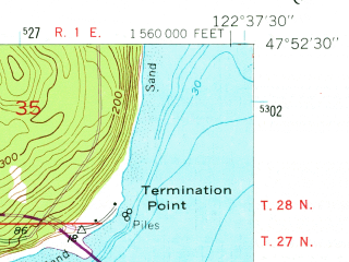 Reduced fragment of topographic map en--usgs--024k--026249--(1953)--N047-52-30_W122-45-00--N047-45-00_W122-37-30