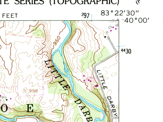 Reduced fragment of topographic map en--usgs--024k--026327--(1961)--N040-00-00_W083-30-00--N039-52-30_W083-22-30; towns and cities London, Chocktou Lake