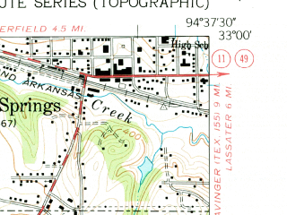 Reduced fragment of topographic map en--usgs--024k--026382--(1962)--N033-00-00_W094-45-00--N032-52-30_W094-37-30 in area of Ellison Creek Reservoir; towns and cities Hughes Springs, Lone Star