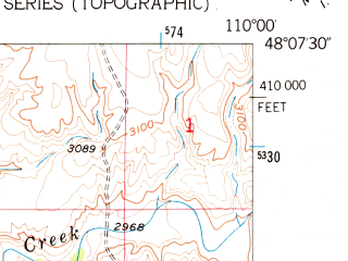Reduced fragment of topographic map en--usgs--024k--026414--(1953)--N048-07-30_W110-07-30--N048-00-00_W110-00-00