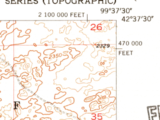 Reduced fragment of topographic map en--usgs--024k--026480--(1954)--N042-37-30_W099-45-00--N042-30-00_W099-37-30; towns and cities Long Pine