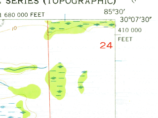 Reduced fragment of topographic map en--usgs--024k--026482--(1956)--N030-07-30_W085-37-30--N030-00-00_W085-30-00; towns and cities Tyndall Afb