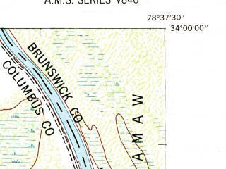 Reduced fragment of topographic map en--usgs--024k--026515--(1953)--N034-00-00_W078-45-00--N033-52-30_W078-37-30