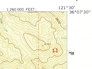 Reduced fragment of topographic map en--usgs--024k--026580--(1956)--N036-07-30_W121-37-30--N036-00-00_W121-30-00