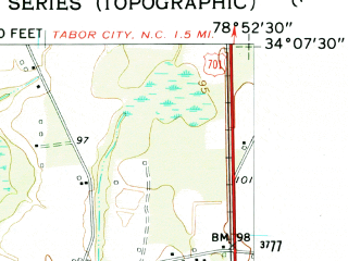 Reduced fragment of topographic map en--usgs--024k--026612--(1962)--N034-07-30_W079-00-00--N034-00-00_W078-52-30; towns and cities Loris