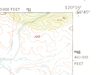 Reduced fragment of topographic map en--usgs--024k--026617--(1959)--N034-45-00_W120-22-30--N034-37-30_W120-15-00