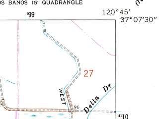 Reduced fragment of topographic map en--usgs--024k--026620--(1960)--N037-07-30_W120-52-30--N037-00-00_W120-45-00; towns and cities Los Banos