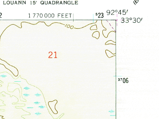 Reduced fragment of topographic map en--usgs--024k--026697--(1962)--N033-30-00_W092-52-30--N033-22-30_W092-45-00; towns and cities Louann