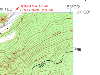 Reduced fragment of topographic map en--usgs--024k--026702--(1954)--N037-00-00_W083-07-30--N036-52-30_W083-00-00