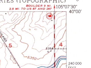 Reduced fragment of topographic map en--usgs--024k--026718--(1950)--N040-00-00_W105-15-00--N039-52-30_W105-07-30; towns and cities Louisville, Superior