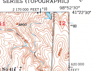 Reduced fragment of topographic map en--usgs--024k--026730--(1953)--N041-22-30_W099-00-00--N041-15-00_W098-52-30; towns and cities Loup City