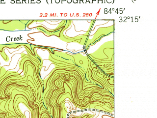 Reduced fragment of topographic map en--usgs--024k--026735--(1950)--N032-15-00_W084-52-30--N032-07-30_W084-45-00