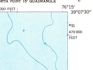 Reduced fragment of topographic map en--usgs--024k--026738--(1953)--N039-07-30_W076-22-30--N039-00-00_W076-15-00