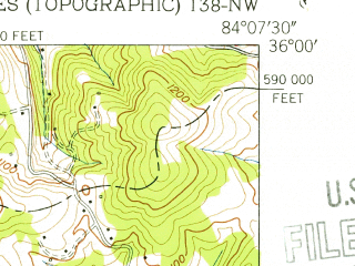 Reduced fragment of topographic map en--usgs--024k--026754--(1953)--N036-00-00_W084-15-00--N035-52-30_W084-07-30