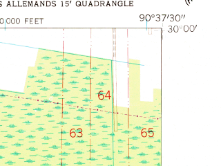 Reduced fragment of topographic map en--usgs--024k--026812--(1962)--N030-00-00_W090-45-00--N029-52-30_W090-37-30; towns and cities North Vacherie, South Vacherie