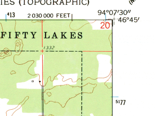 Reduced fragment of topographic map en--usgs--024k--026817--(1959)--N046-45-00_W094-15-00--N046-37-30_W094-07-30 in area of Big Trout Lake; towns and cities Manhattan Beach