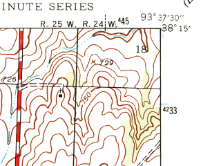 Reduced fragment of topographic map en--usgs--024k--026830--(1941)--N038-15-00_W093-45-00--N038-07-30_W093-37-30; towns and cities Brownington, Lowry City