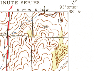 Reduced fragment of topographic map en--usgs--024k--026830--(1945)--N038-15-00_W093-45-00--N038-07-30_W093-37-30; towns and cities Brownington, Lowry City