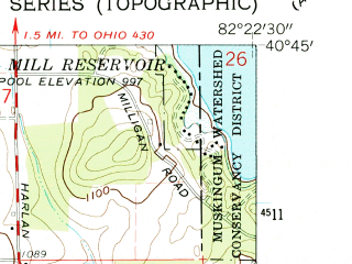 Reduced fragment of topographic map en--usgs--024k--026865--(1961)--N040-45-00_W082-30-00--N040-37-30_W082-22-30; towns and cities Lucas