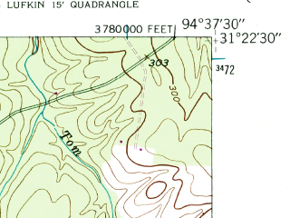 Reduced fragment of topographic map en--usgs--024k--026926--(1949)--N031-22-30_W094-45-00--N031-15-00_W094-37-30; towns and cities Lufkin