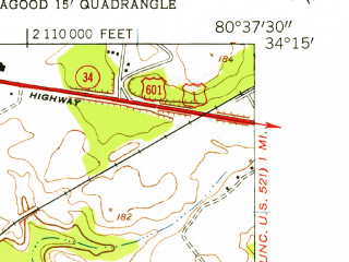 Reduced fragment of topographic map en--usgs--024k--026929--(1953)--N034-15-00_W080-45-00--N034-07-30_W080-37-30; towns and cities Lugoff