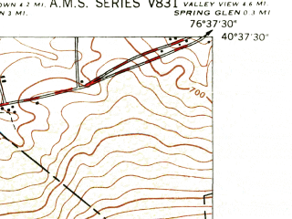 Reduced fragment of topographic map en--usgs--024k--027010--(1947)--N040-37-30_W076-45-00--N040-30-00_W076-37-30; towns and cities Gratz, Lykens