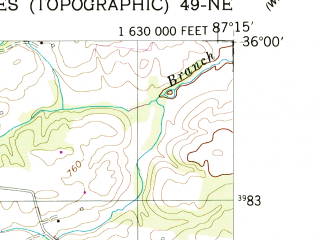 Reduced fragment of topographic map en--usgs--024k--027015--(1953)--N036-00-00_W087-22-30--N035-52-30_W087-15-00
