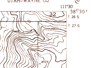 Reduced fragment of topographic map en--usgs--024k--027020--(1952)--N038-30-00_W111-37-30--N038-22-30_W111-30-00; towns and cities Lyman
