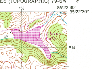Reduced fragment of topographic map en--usgs--024k--027036--(1949)--N035-22-30_W086-30-00--N035-15-00_W086-22-30