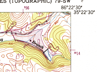 Reduced fragment of topographic map en--usgs--024k--027036--(1951)--N035-22-30_W086-30-00--N035-15-00_W086-22-30